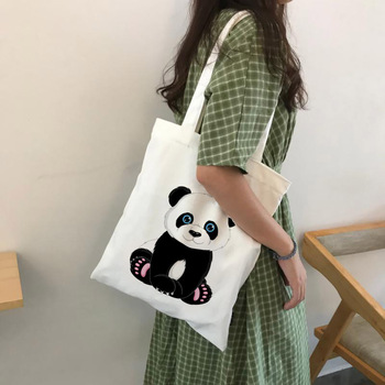 Panda Cartoon Cute Animal Print Ladies Handbags Canvas Tote Bag Shopping Travel Women Eco Reusable Shoulder Bags Bolsas De Tela - discount item  30% OFF Special Purpose Bags
