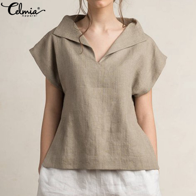 Celmia Women Vintage Linen Tops Plus Size Blouses 2019 Summer V Neck Short Sleeve Shirts Casual Tunic Female Blusas Femininas