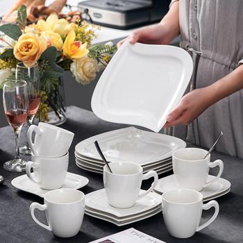 MALACASA Elvira 18-sztuka biały porcelany popołudniowa herbata ceramiczne obiad pasażerskie minibusy-zestaw z 6 * filiżanki do kawy spodki i talerze deserowe tanie i dobre opinie Filiżanka kawy i Spodek Zestawy CN (pochodzenie) Pigmentowane ELVIRA-18