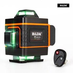 HILDA лазерный уровень 16 линий 4D, перекрестный зеленый лазерный уровень, самонивелирующийся Многофункциональный уровень, вертикальная измер...