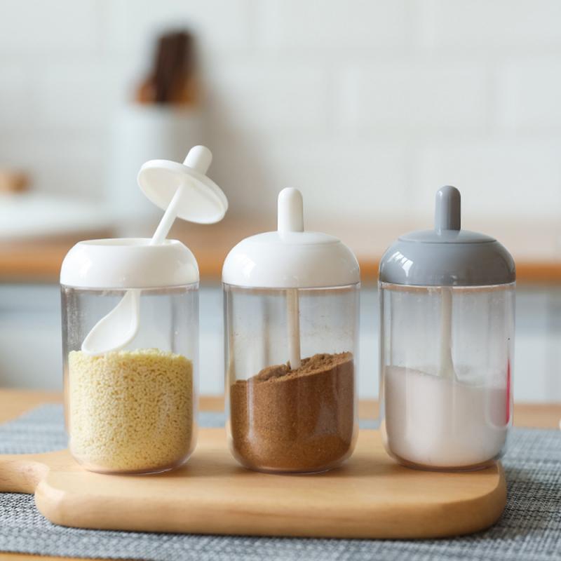 Kitchen Household Seasoning Bottle Moisture-proof Spoon Cover Integrated Transparent Seasoning Jar With Spoon Salt Condiment Jar