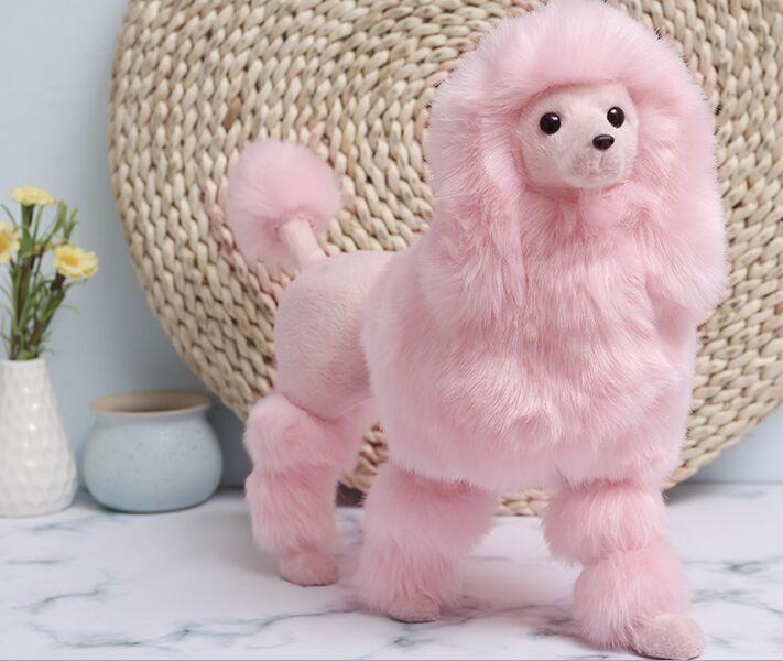 Grand 36x30cm rose jouet caniche polyéthylène & fourrure chien debout dur modèle artisanat décoration de la maison cadeau de noël b1702