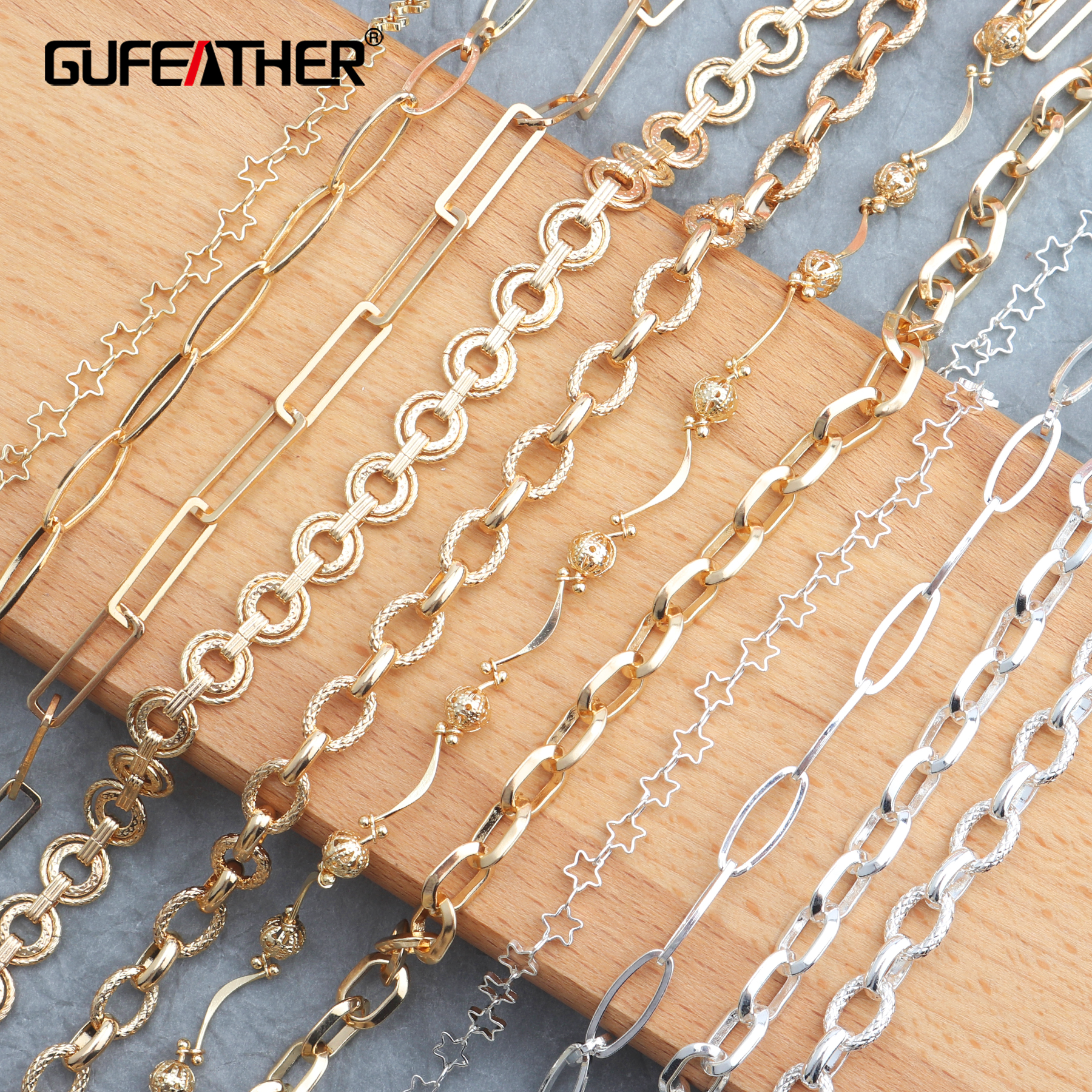 GUFEATHER C38,jewelry Making,silver Gold Chains,necklace For Women,diy Jewelry,copper Metal,jewelry Findings Components,50cm/lot