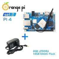 Orange Pi 4 Set 2: OPI4+Power Supply,4GB DDR4+16GB EMMC Rockchip RK3399 Development Board Support Android,ubuntu,debian