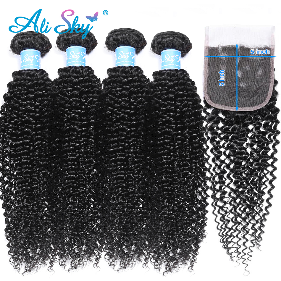 Alisky Hair Malaysian Afro Kinky Curly Hair 4 Bundles Deal With 5x5 Top Lace Closure Free/Middle/Three Part Remy Natural Black