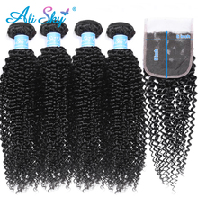 Alisky Hair Malaysian Afro Kinky Curly 4 bundles deal with 5x5 Top Lace Closure Free/Middle/Three Part Remy natural black