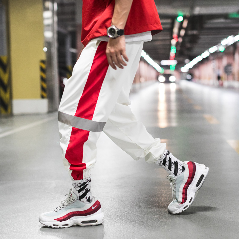 Reflective Pants Men's Hip Hop Flash Joggers Side Striped Track Spring Baggy Trousers Male Autumn Dancing Homme Streetwear