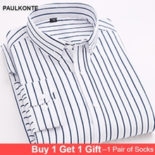 New Striped Fashion Multicolor MenS Long-Sleeved Shirt High Quality Simple Business Casual Wild