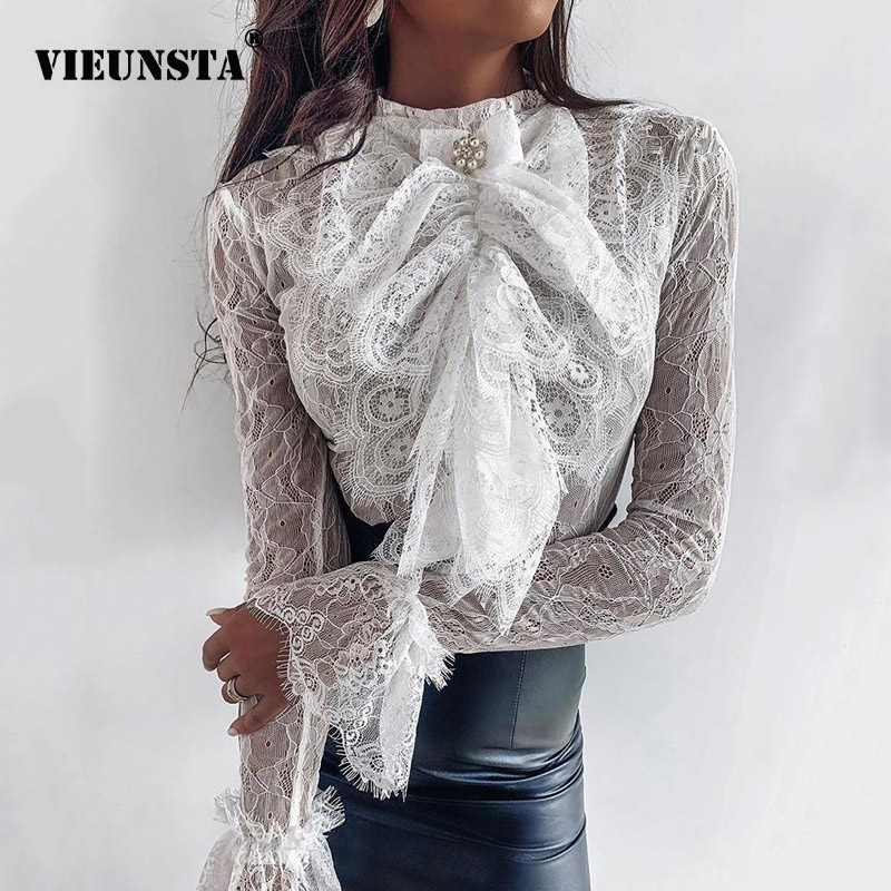 Sexy Flare Sleeve Embroidery Lace Blouse Women Shirt Office Lady Stand Collar Button Blouse Chic Elegant Spring Fall Casual Tops