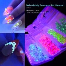 Светящиеся украшения для ногтей, флуоресцентные Стразы для дизайна ногтей, алмазные Стразы с плоской задней поверхностью, украшения для дизайна ногтей J1