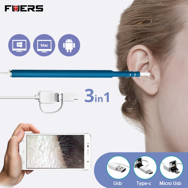 FUERS 480P 720P HD Otoscope 3 In 1 USB Ear Pick Endoscope Mini Camera Ear Cleaner Borescope Support PC MAC Android Phone System