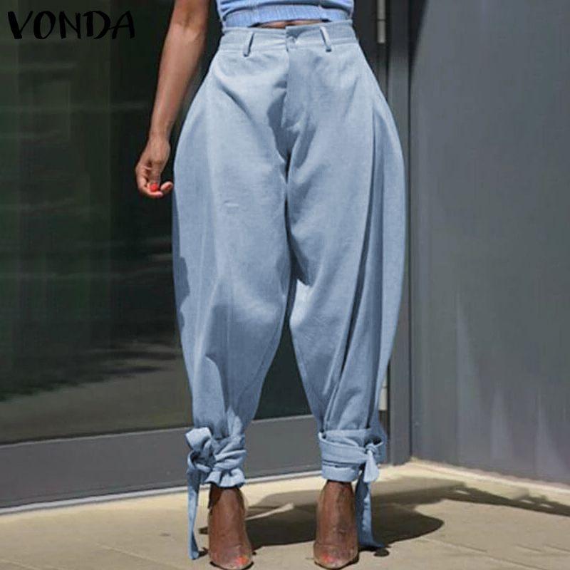 VONDA Women's Trousers 2019 Summer Casual Pants Vintage Solid Buttons High Waist Long Pants Female Legging Plus Size S-5XL