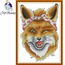 Joy Sunday,Sly Fox,cross stitch embroidery set,Cartoon cross pattern,cross needlework,Animal pattern
