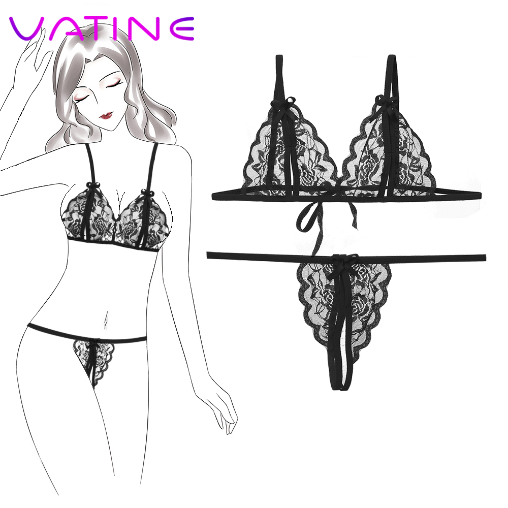 VATINE Gather Sex Erotic Lingerie Sexy Lingerie Set Lace Tenue Sexy Femme Erotique Bikini Chest Bra + T Pants