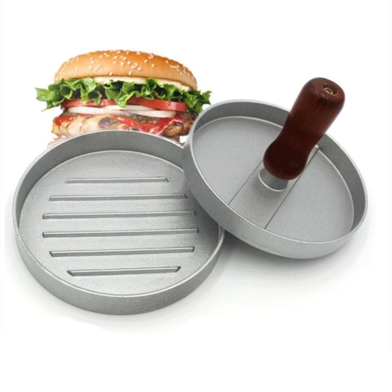 Quality Round Shape Hamburger Press Aluminum Alloy 12 cm Hamburger Meat Beef Grill Burger Press Mold kitchen Restaurant tools