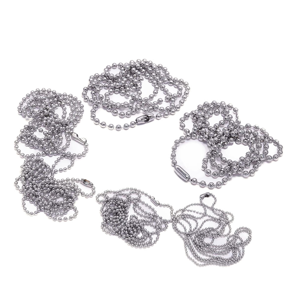 5pcs 1.2-3.2mm Stainless Steel Ball Bead Chain With Connector For Jewelry Making DIY Key Chain Dolls Label Connector Accessories