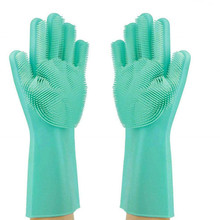 SHQN Thick type ONE PAIR Reusable Cleaning Brush Heat Resistant Durable Silicone Dishwashing Gloves with Wash Scrubber, 1 Pa magic cleaning sponge gloves with soft bristles reusable silicone brush heat resistant scrubber gloves for kitchen bathroom