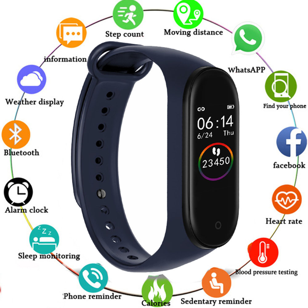 M4 Smart Bracelet Fitness Tracker Color Touch Screen Heart Rate Blood Pressure Monitor Sports Bracelet Fully Compatible title=