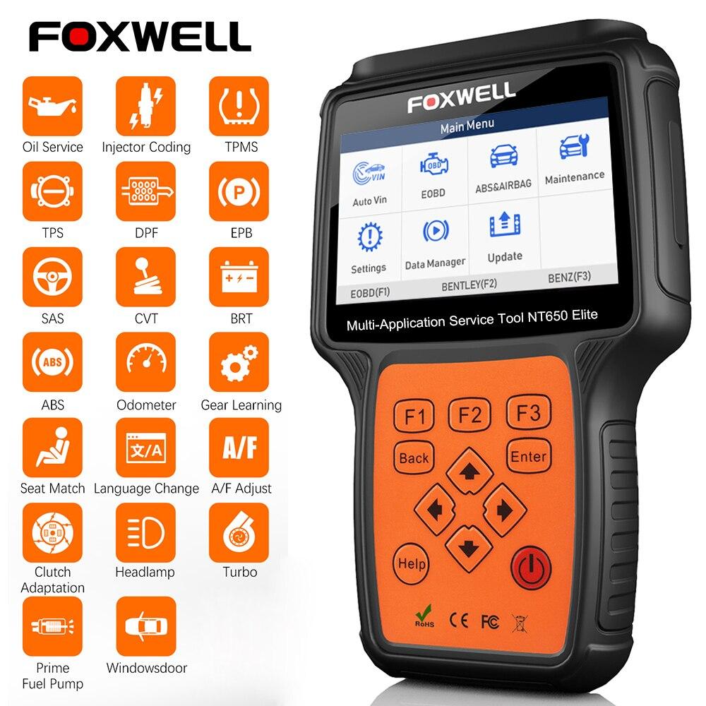 Автомобильный сканер FOXWELL NT650 Elite OBD2, Прибор для диагностики параметров автомобиля: ABS, SRS, SAS, DPF, уровень масла