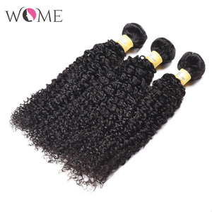 Image 4 - WOME Brazilian Kinky Curly Human Hair Bundles Jerry Curls 1/3/4 Bundles 10 26 Inches Natural Color Non remy Hair Extensions