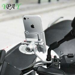 YPAY 12 de Alumínio Bicicleta Da Bicicleta Da Motocicleta Suporte Do Telefone com Carregador USB-24 V Para Guiador Espelho Retrovisor Montar bicicleta telefone Braket