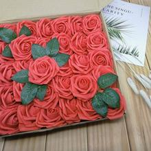 AsyPets 25Pcs Artificial Rose Flower Heads with 8CM Rod for Wedding Christmas Home Decor