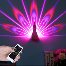 Peacock Night Light Projector Lamp 7 Colors USB Rechargeable Peahen Wall Corridor Lights Kids Children LED Night Light For Room(China)