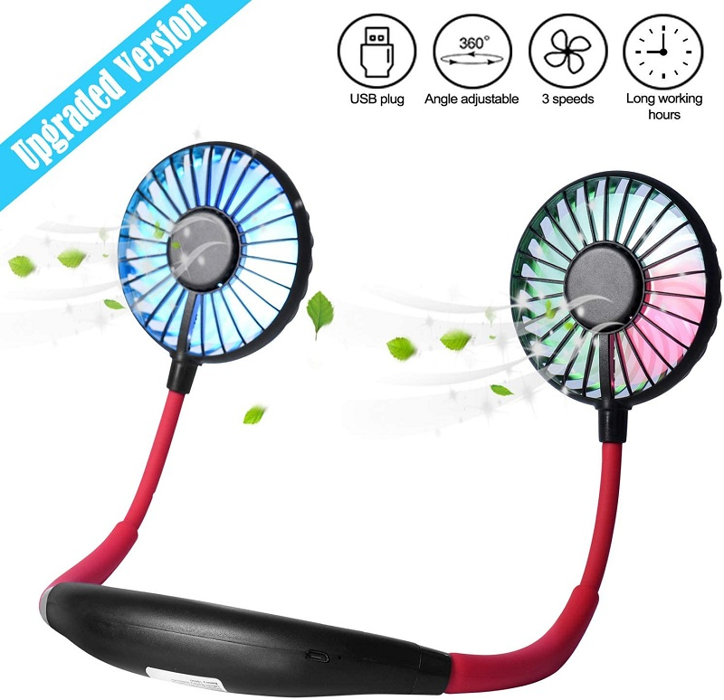 2020 <font><b>Mini</b></font> USB <font><b>Portable</b></font> Fan Neck Fan Neckband With Rechargeable Battery Small Desk handheld <font><b>Air</b></font> <font><b>Cooler</b></font> Conditioner Fans for Room image