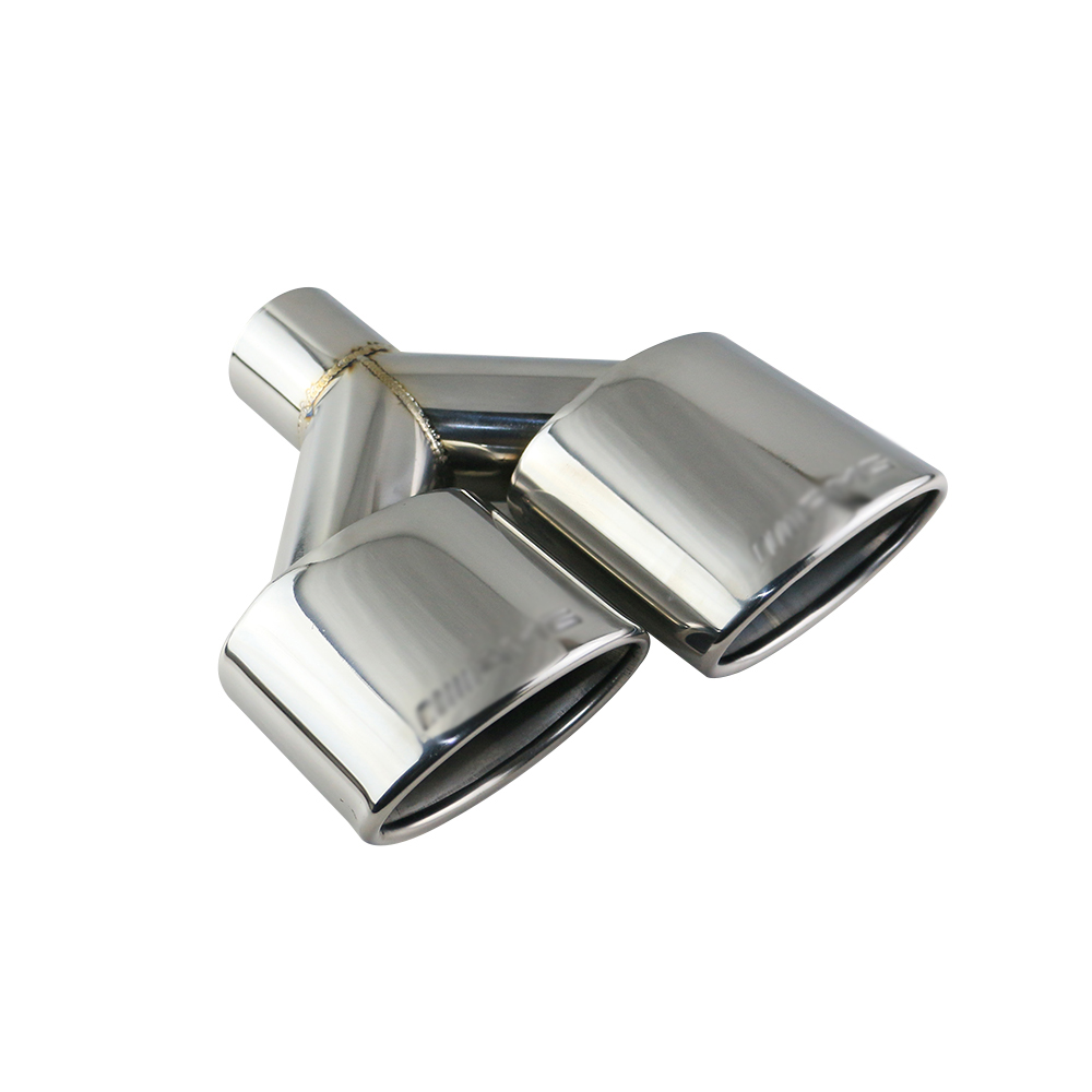 1set(2pcs) Stainless Steel Car Silence Exhaust Pipe Double Slant Rolled Tailpipes Muffler Tails Tip