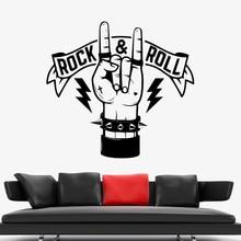 Rock & Roll pegatinas de pared de mano decoración del hogar de dormitorio fresco vinilo Vintage calcomanías de pared música salón de clases Pub arte adorno Y699