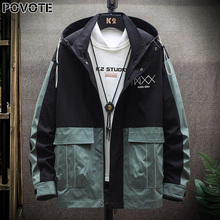 POVOTE brand men's color blocking Hooded Jacket Coat hip hop jacket Korean Trend tooling jacket men's trend design