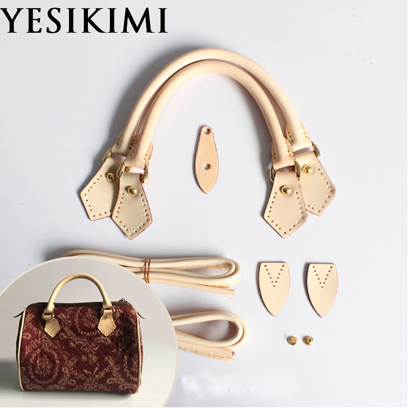 Top Quality Replacement 1 Set 100% Real Leather Bag Handles Short Strap Repair  Luxury Boston Bag Accessories
