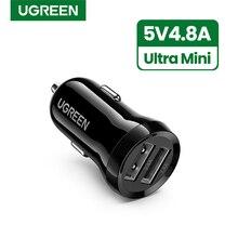Ugreen Mini USB ładowarka samochodowa do telefonu komórkowego Tablet GPS 4.8A szybka ładowarka samochodowa podwójna ładowarka samochodowa USB Adapter w samochodzie