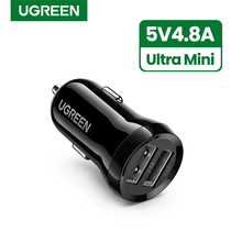 Ugreen מיני USB מטען לרכב עבור טלפון נייד Tablet GPS 4.8A מהיר מטען לרכב מטען USB הכפול לרכב טלפון מטען מתאם במכונית