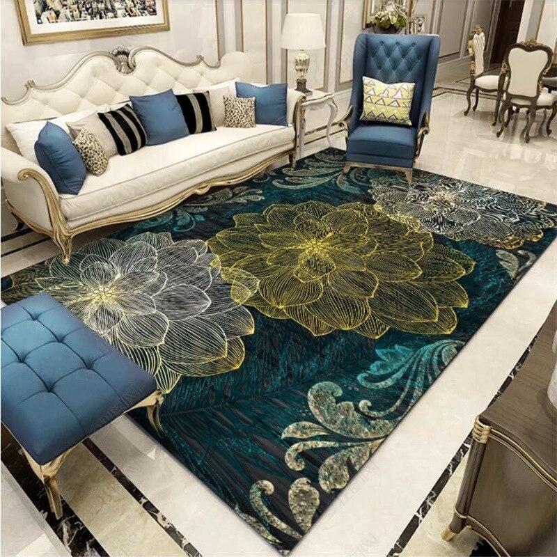 European Retro Luxury Living Room Carpet Abstract 3D Flower Dark Green Bedroom Bedside Sofa Floor Mat Kitchen Non-Slip Area Rugs