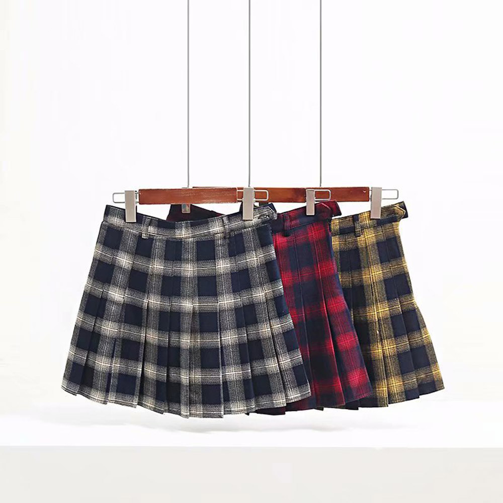 Autumn Winter Harajuku Women Fashion Skirts Cute Yellow Black Red Lattice Pleated Skirt Punk Style High Waist Female