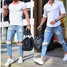 Jeans Skinny homens Calças De Brim Homme Hip Hop Streetwear quebrado buraco Calças Lápis calças masculinas Motociclista calças Listradas