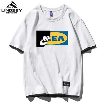 LINDSEY SEADER Hip Hop Trend Fashion T Shirt Men Streetwear Printed Brand Fashion Unisex Tops Cotton Mens Harajuku T-shirt M-5XL недорого