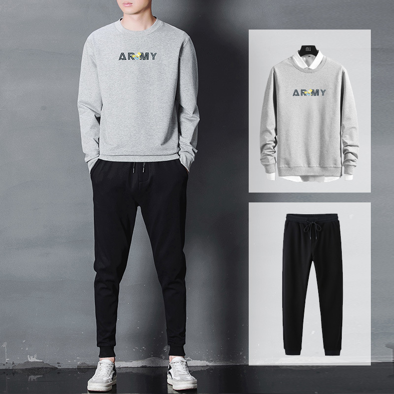 Crew Neck Hoodie Suit Men's 2019 Autumn Korean-style Fashion Printed Men's Casual Two-Piece Set Cotton Sports Clothing Men's