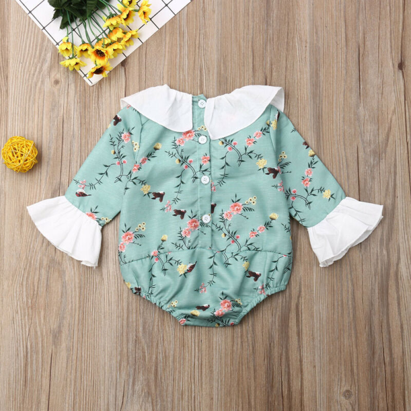 0 24M Adorable Baby Girls Floral Romper Summer Infant Toddler Baby Girl Short Ruffle Sleeve Clothes Sunsuit Set in Rompers from Mother Kids