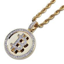Hip hop micro pavimentado aaa + zircônia cúbica congelado bling ouro bitcoin pingentes redondos colar para bijuterias rapper