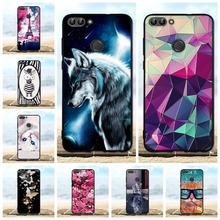 For Huawei P Smart Case Silicone TPU Black Cover Enjoy 7S 3D Cute Pattern Shell PSmart Phone Cases