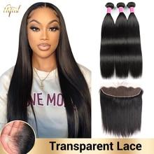 HD transparente Frontal de encaje con mechones de pelo lacio brasileño mechones con Frontal extensiones de cabello humano mechones con Frontal para las mujeres