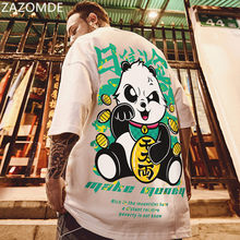 ZAZOMDE 2021 New Chinese Style Men T-Shirts Summer Lucky Panda Printed Short Sleeve T shirts Hip Hop Casual Tops Tees Streetwear
