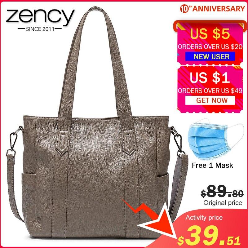 Zency Genuine Leather Bag For Women Large Capacity Hobos Elegant Lady Tote Handbag Fashion Crossbody Messenger Bags Black Grey