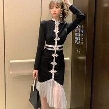 Spring Vintage Cheongsam Mermaid Dresses Mandarin Collar Long Sleeve High-end