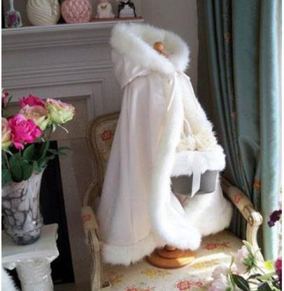 Ivory outerwear Faux fur Flower girl Cape Winter Jacket Long wedding cloak for dress for Kids Children Clothes with Hat