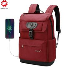 Tigerنو موضة المرأة الأحمر USB إعادة شحن حقيبة مدرسية على ظهره للمراهقين الفتيات مكافحة سرقة الإناث الذكور Mochila 15.6 حقيبة لابتوب