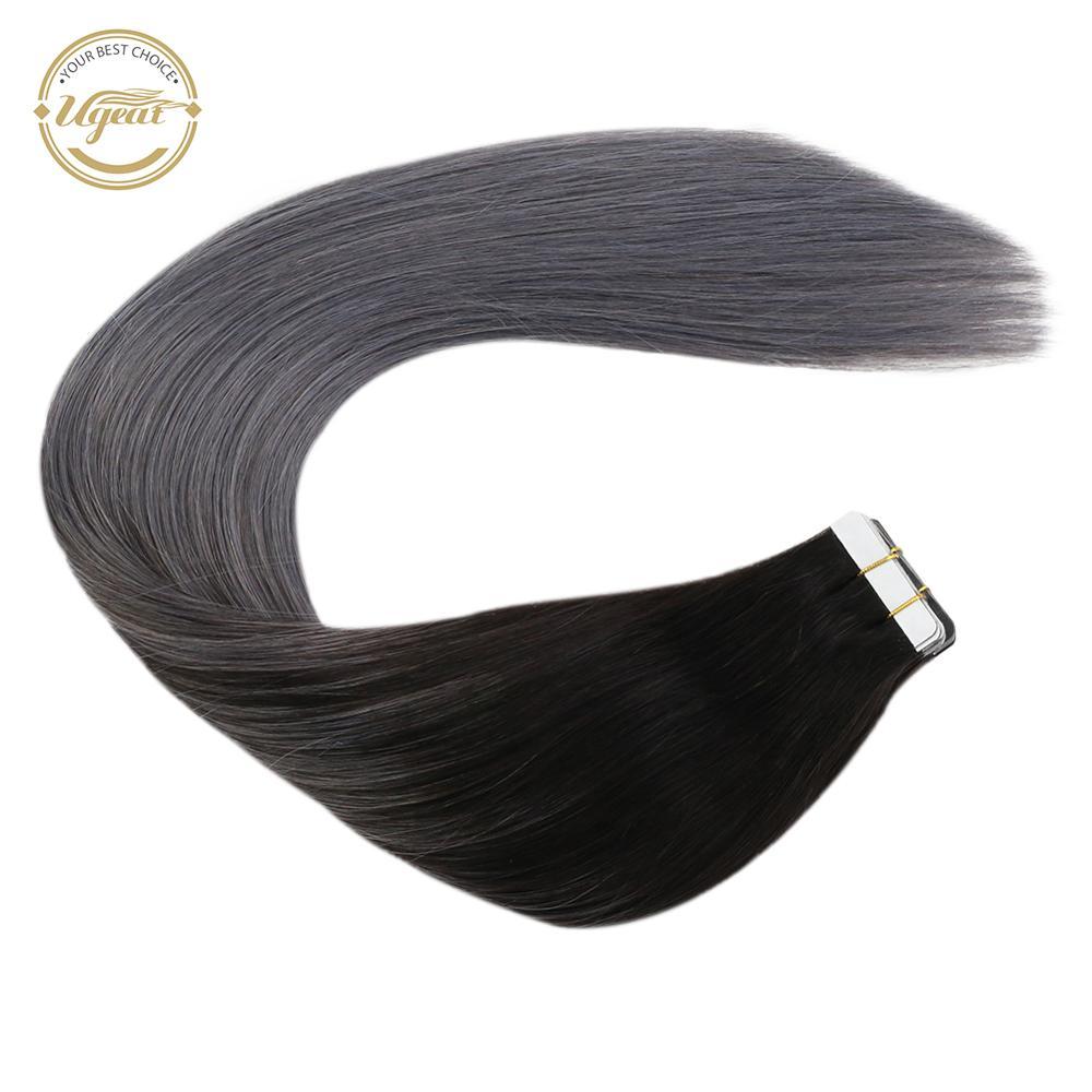 """[Extra 5% de desconto] fita ugeat em extensões de cabelo humano 14-24 """"cola no cabelo 100g/40 pces máquina cabelo remy balayage cor cabelo"""