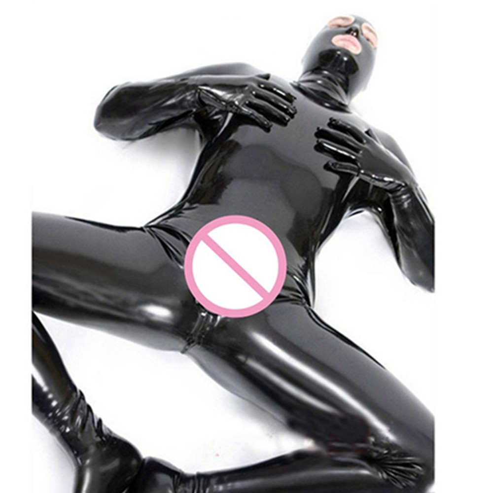 Jumpsuit Men Leotard Night-Club Male Latex Faux-Leather Full-Bodysuit Gay Fetish Black title=